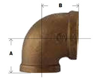 Bronze 90 Degree Reducing Elbow Diagram
