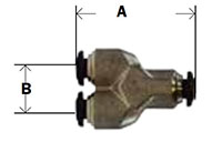 Nickel Plated Brass Push In Metric Union - Y Diagram