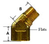 Brass 45 Degree Forged Street Elbow Diagram