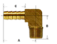 Brass Barstock Hose Barb 90 Degree Diagram