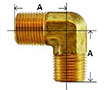 Brass Forged 90 Degree Male Elbow Diagram